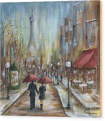 Paris Lovers Ill Wood Print by Marilyn Dunlap
