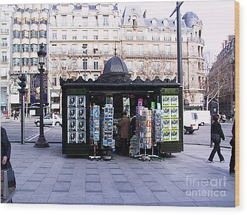 Paris Magazine Kiosk Wood Print by Thomas Marchessault