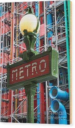 Paris Metro Wood Print by Inge Johnsson