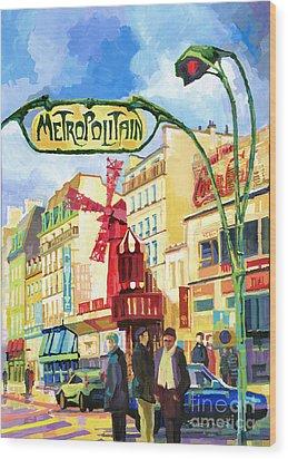 Paris Metropolitain Blanche Moulin Rouge  Wood Print by Yuriy  Shevchuk