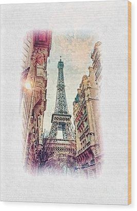 Paris Mon Amour Wood Print by Mo T