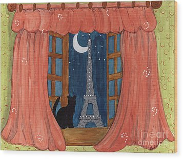Paris Moonlight Wood Print by Lee Owenby