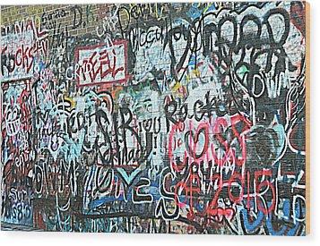 Paris Mountain Graffiti Wood Print by Kathy Barney