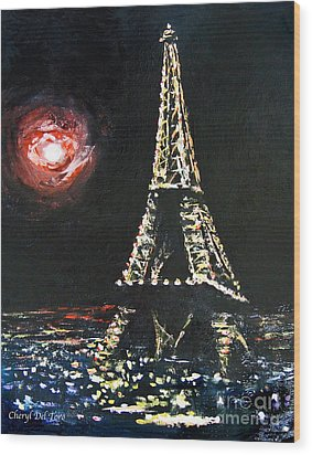 Paris Night Wood Print