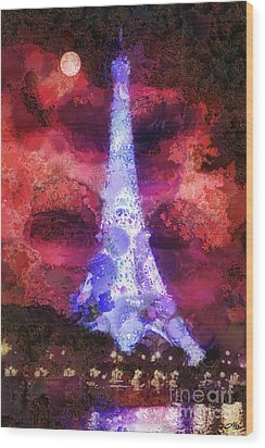 Paris Night Wood Print by Mo T