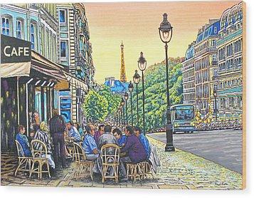 Paris Nights Wood Print by David Linton