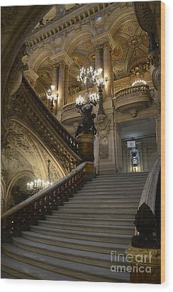 Paris Opera Garnier Grand Staircase - Paris Opera House Architecture Grand Staircase Fine Art Wood Print by Kathy Fornal