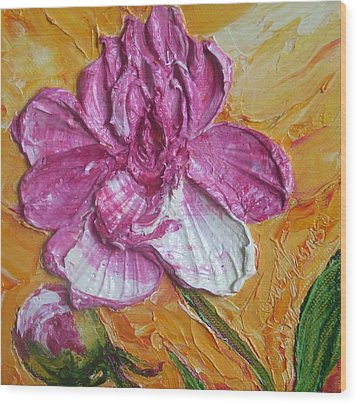 Paris' Pink Peony Wood Print by Paris Wyatt Llanso
