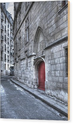 Paris Red Door Wood Print by Evie Carrier