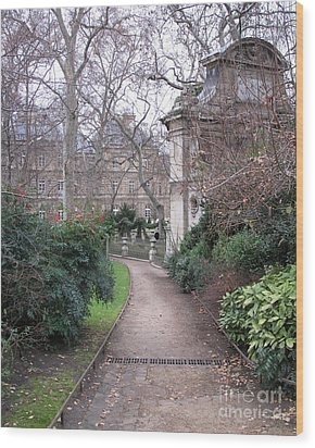 Paris Romantic Parks - Luxembourg Gardens - Medici Fountain Park - Pathway To Luxembourg Gardens Wood Print by Kathy Fornal