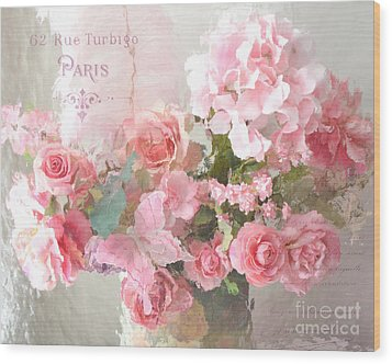 Paris Shabby Chic Dreamy Pink Peach Impressionistic Romantic Cottage Chic Paris Flower Photography Wood Print by Kathy Fornal