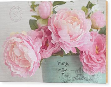Paris Peonies Shabby Chic Dreamy Pink Peonies Romantic Cottage Chic Paris Peonies Floral Art Wood Print by Kathy Fornal
