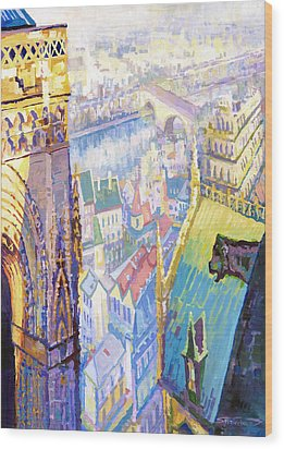 Paris Shadow Notre Dame De Paris Wood Print by Yuriy  Shevchuk