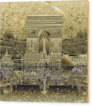 Paris Skyline Landmarks 4 Wood Print
