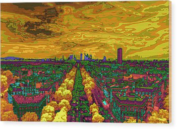 Paris Skyline Pop Art Wood Print by Eti Reid
