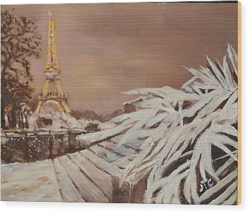 Wood Print featuring the painting Paris Sous La Neige by Julie Todd-Cundiff