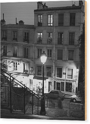 Paris-steps-montmartre Wood Print by Dave Beckerman