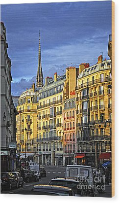 Paris Street At Sunset Wood Print by Elena Elisseeva