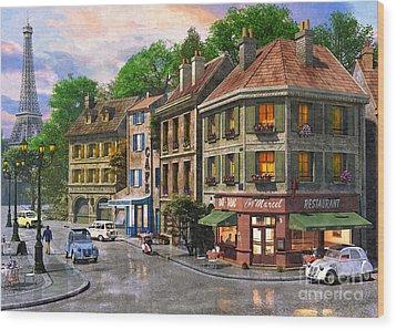Paris Street Wood Print by Dominic Davison