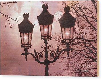 Paris Street Lanterns - Paris Romantic Dreamy Surreal Pink Paris Street Lamps  Wood Print by Kathy Fornal