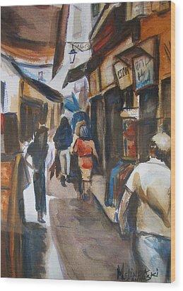Paris Street Scene Wood Print by Melinda Saminski