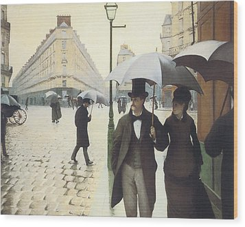 Paris The Place De L'europe On A Rainy Day Wood Print by Gustave Caillebotte