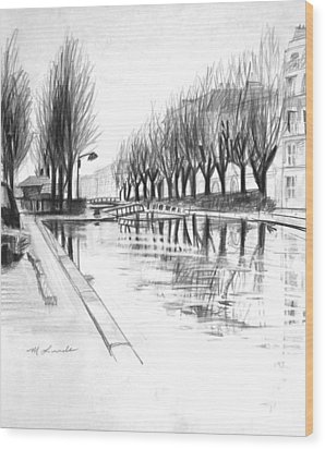 Paris Winter Canal Wood Print by Mark Lunde