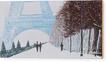 Paris Wintertime Wood Print by Kevin Croitz