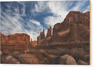 Park Ave Overlook At Arches National Park Wood Print