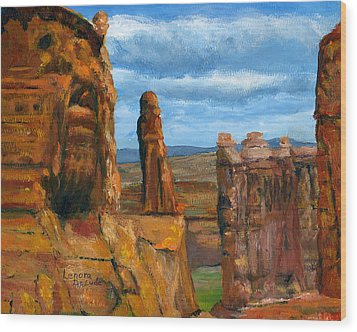 Wood Print featuring the painting Park Avenue Arches National Park by Lenora  De Lude