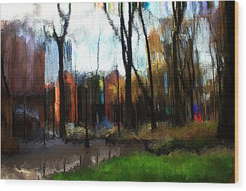 Wood Print featuring the mixed media Park Block I by Terence Morrissey