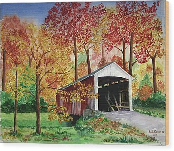 Park County Covered Bridge Wood Print by Anita Riemen