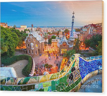 Park Guell In Barcelona - Spain Wood Print by Luciano Mortula