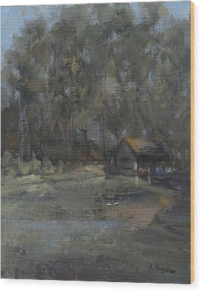 Park Pond And Boat House Wood Print