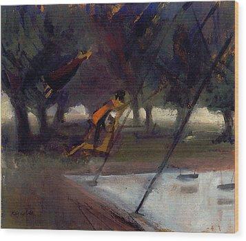 Park Swings Wood Print by Ted Reynolds