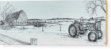 Parked Tractor  Wood Print by Scott Nelson