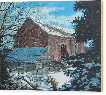 Parker Road Barn Wood Print by William  Brody