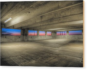 Parking Deck Sunset Wood Print