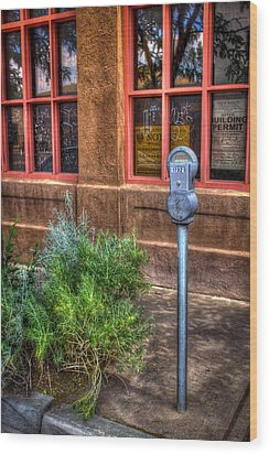 Wood Print featuring the photograph Parking Meter On Sidewalk by Dave Garner