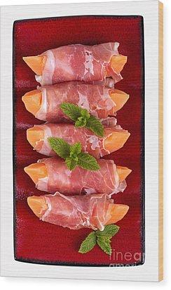 Parma Ham And Melon Wood Print by Jane Rix