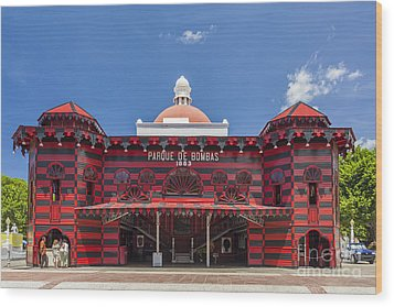 Parque De Bombas Fire Station In Ponce Puerto Rico Wood Print