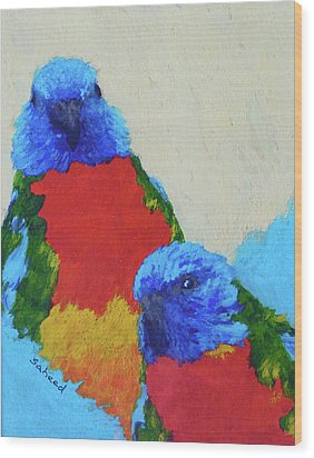 Wood Print featuring the painting Parrot Pair by Margaret Saheed