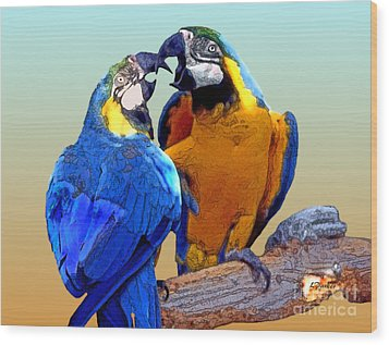 Parrot Passion 2 Wood Print by Linda  Parker