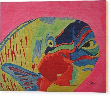Parrotfish Wood Print by Tony Baker