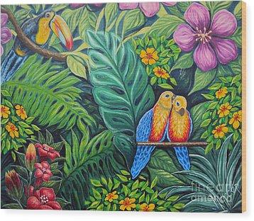 Parrots Jungle Love Scene Wood Print by Drinka Mercep