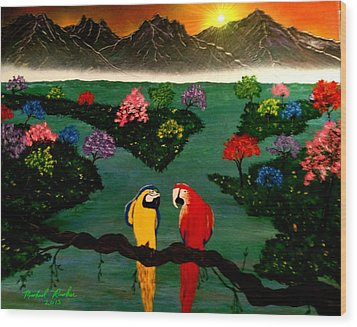 Wood Print featuring the painting Parrots by Michael Rucker