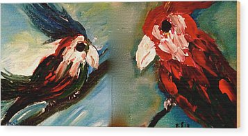 Parrots Wood Print by Pretchill Smith