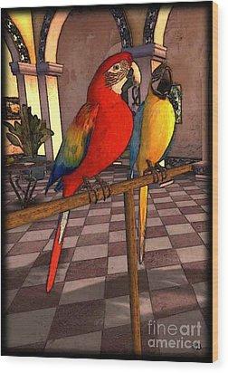 Parrots1 Wood Print by Susanne Baumann