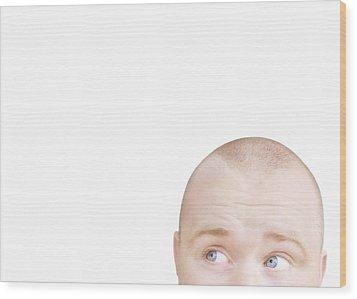 Part Of A Mans Head Looking Sideways Wood Print by Chris and Kate Knorr