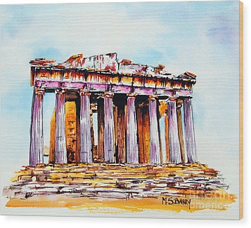 Parthenon Wood Print by Maria Barry